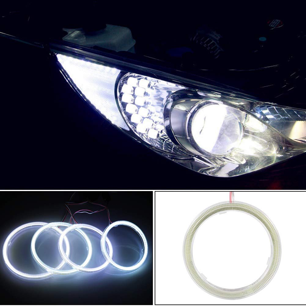 Coppia di fari alogeni per auto Angel Eye COB Chip DRL LED per moto e auto Akozon COB Angel Eyes