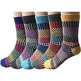 YUYUGO 5 Pairs Women's Wool Socks Soft Warm Winter Knitted Socks for Women