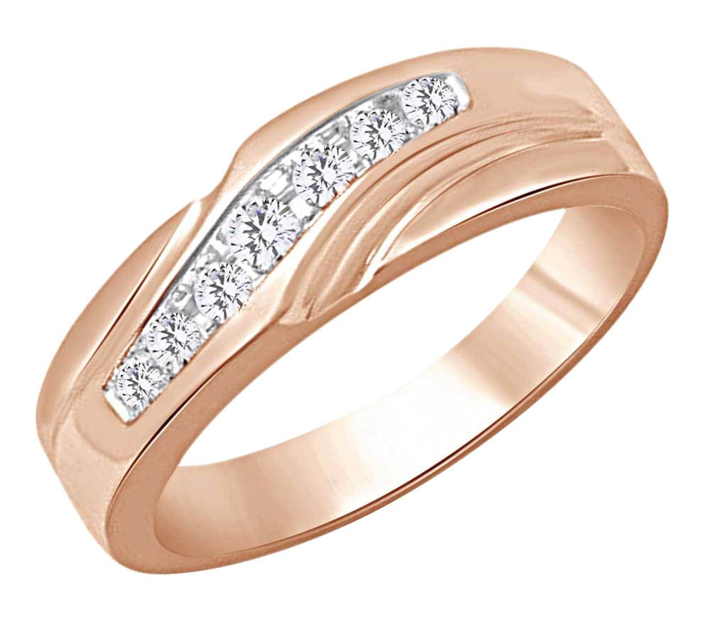 Round Cut White Natural Diamond Men's Wedding Band Ring In 10k Rose Gold (0.25 cttw) Ring Size-12