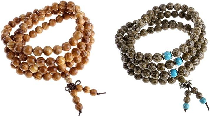 108 Perles En Bois Naturel Bracelet Bouddha Tib/étain Bouddha Pri/ère M/éditation Pri/ère /Élastique Mala Bracelet//Collier pour Homme Femme