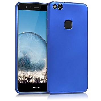 kwmobile Funda para Huawei P10 Lite - Carcasa para móvil en [TPU Silicona] - Protector [Trasero] en [Azul Metalizado]