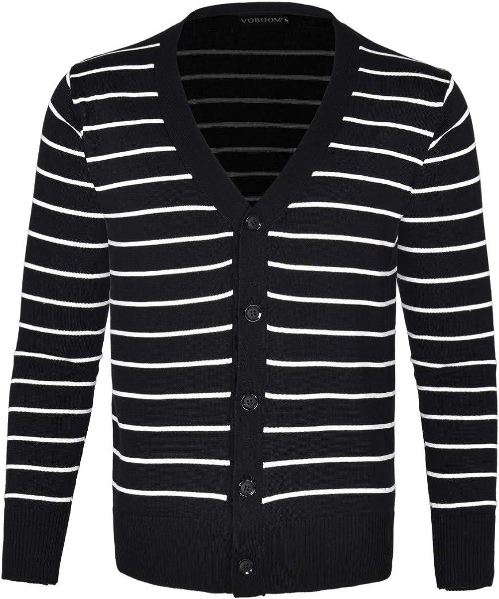 VOBOOM Men's Cotton Cardigan Sweater V-Neck Basic Designed Button Down Thin Knit Sweater