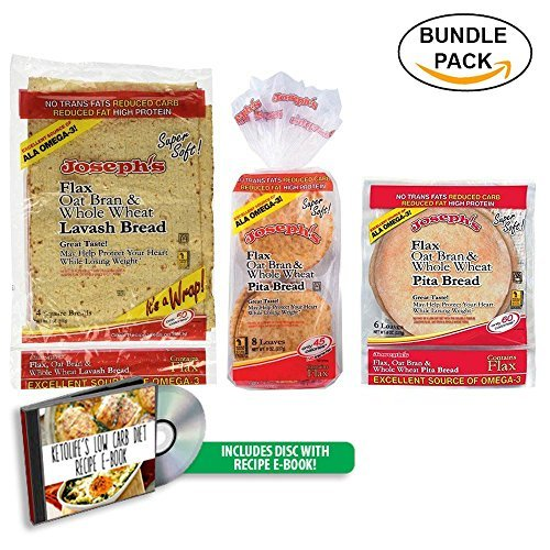 Bread Carb Pita Low - Combo Value Pack: Joseph's   Flax   Oat Bran & Whole Wheat Reduced Carb Low Carb Pita Bread, Lavash Bread, and Mini Pita