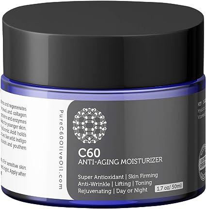 Hidratante antienvejecimiento Carbon 60 50ml con ácido hialurónico, vitaminas B + C + E y CoQ 10 para hombres y mujeres hechos con ingredientes ...