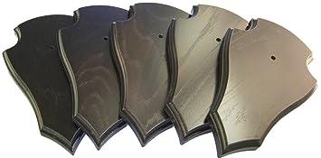 EUROHUNT Rehbock Geh/örnbrettchen abgerundet Dunkelbraun mit Geh/örnklammern 5 Sets aus Brettchen und Klammer 19x12 cm oder 22x13 cm rissfreie Eiche