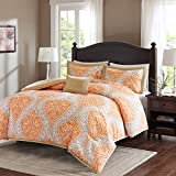 Comfort Spaces - Coco Comforter Set - 3 Piece - Orange and Taupe - Printed Damask Pattern - Twin/Twin XL size, includes 1 Comforter, 1 Sham, 1 Decorative Pillow