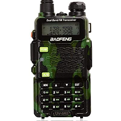 Two Way Radio,Baofeng Walkie Talkie UV-5R5 5W Dual-Band Two-Way Ham Radio Transceiver UHF/VHF 136-174/400-520MHz,65-108MHz FM with Upgraded Earpiece,Built-in VOX Function,Battery,Charger - Camo