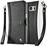 Note 5 Case, Note 5 Wallet, caseen TERRA Flip Cover Kick Stand (Two-Tone Black / White) w/ ID, Credit Card, and Cash Pockets