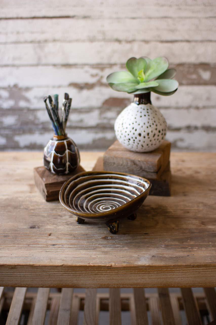 Kalalou CPH3339 Tobacco Glaze Ceramics Set of 3