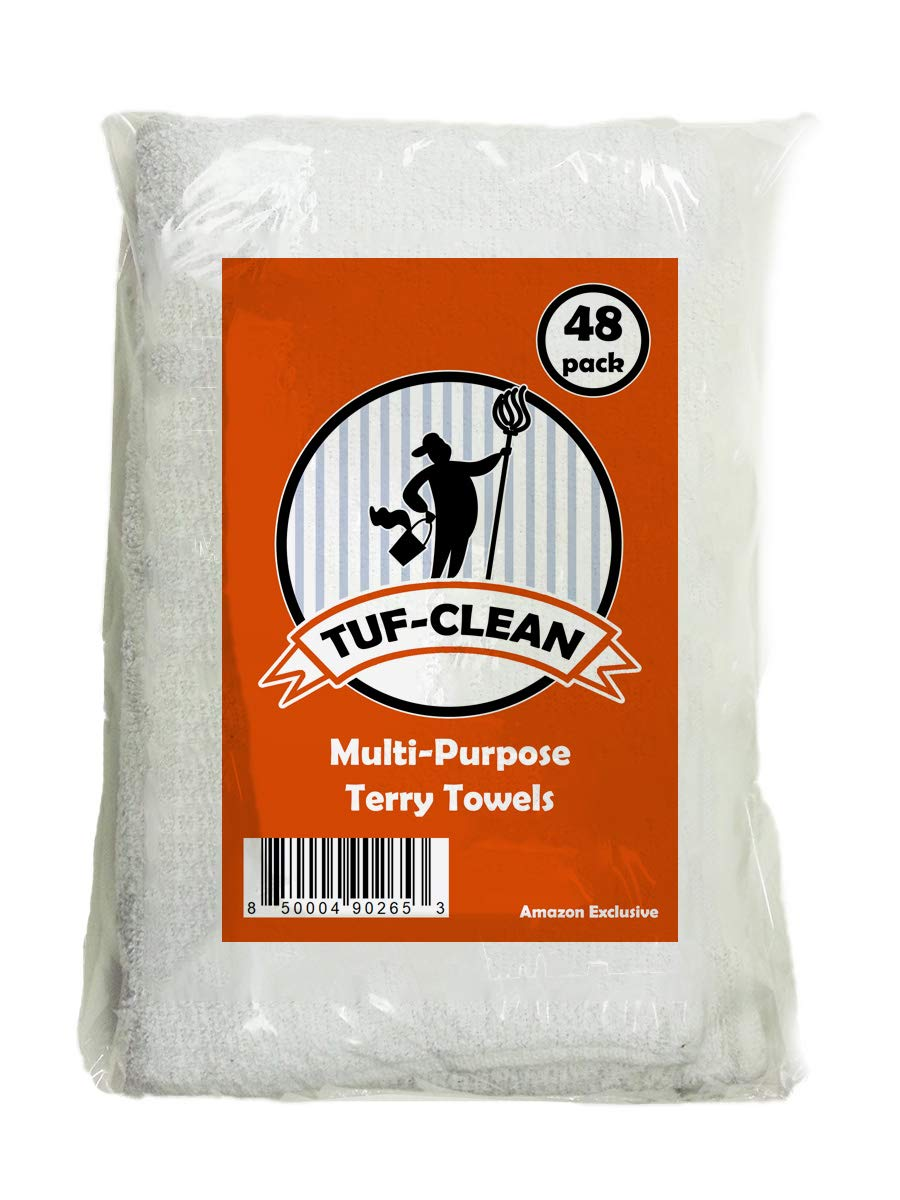 Tuf-Clean A51746 Multi-Purpose Terry Towel, 100% Cotton, White, 14'' x 17'', Pallet of 4,320 (360 Packs of 12),