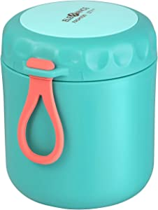 Cabilock Stainless Steel Food Flasks Insulated Lunch Box Soup Porridge Holder Portable Food Jar Container for Picnic School Office (430ML, Green)