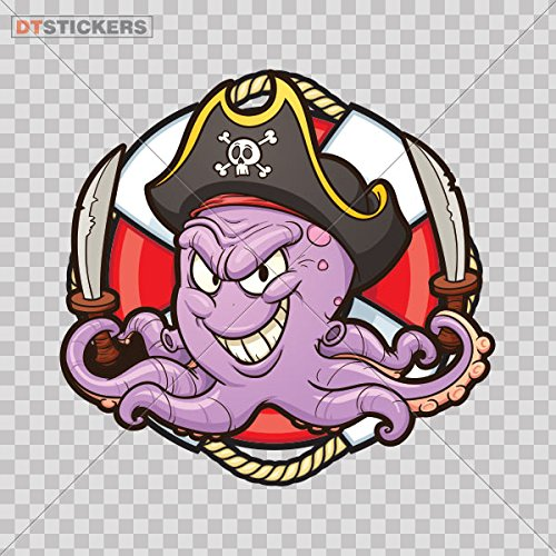 Sticker Octopus Fresh Food Drink Store Restaurant Wall Ar durable Boat pirate ship strength kids (18 X 17,2 Inches) Fully Waterproof Printed vinyl sticker