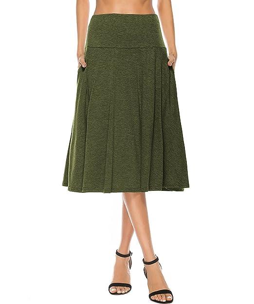 21d5f8385a YiLiQi Women's High Waist Knitted Pleated Pocket Midi Skirt Army Green-S