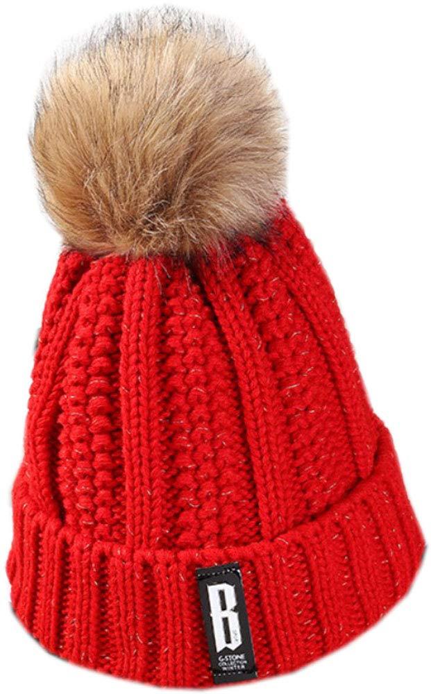 bettyhome Women's Faux Fur Pom Pom B Label Fleece Lined Knitted Slouchy Beanie Hat Cap (red)