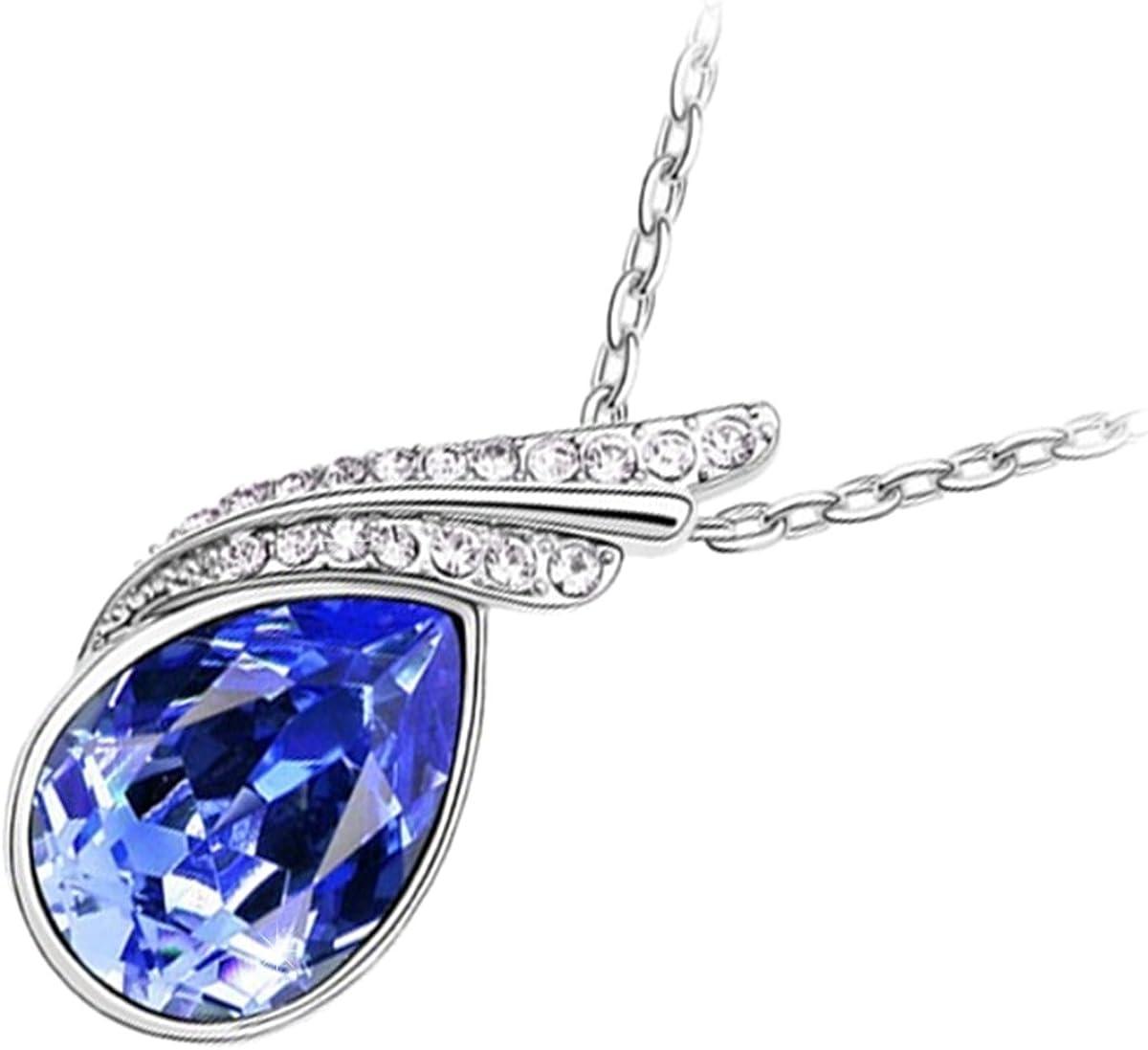 GWG Jewellery Collares Mujer Regalo Collar con Colgante, Chapado en Plata de Ley Cristal Central de Gota de Agua de Colores Varios Adornado con 2 Bandas de Cristales Diamante Claros para Mujeres