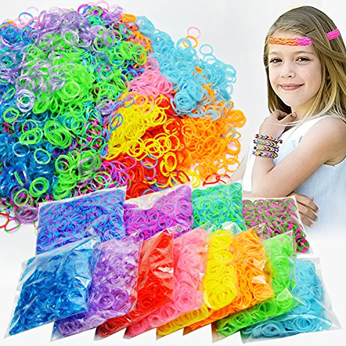 Gift Prod 14000Pcs Colorful Rubber Band Refill Kit for Loom Rainbow Bracelets Dress Making 28 Colors Rainbow Rubber Band for Crafting Gadgets Friendship Bracelet (Style 2)