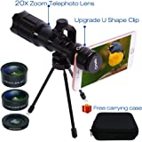 Huatop HD Phone Camera Lens Kit, 20X Telephoto Lens + 198°Fisheye Lens + Wide Angle Lens + Macro Lens + U Shape Clip + Tripod + Carrying Case for iPhone and Most Smartphone, not for Samsung