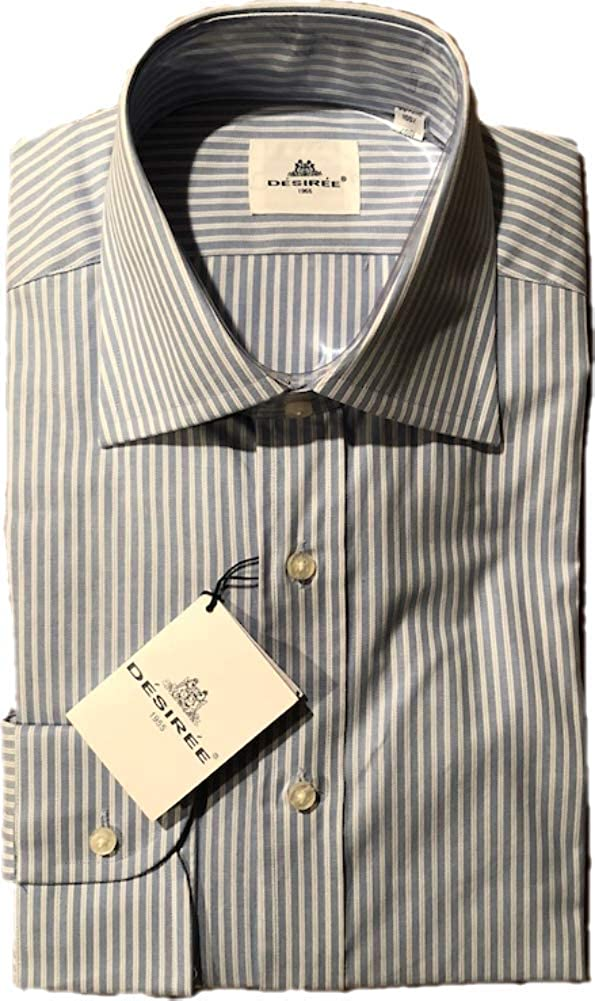 Made in Italy Medium, Blue//White Desiree Mens Button Down Dress Shirt