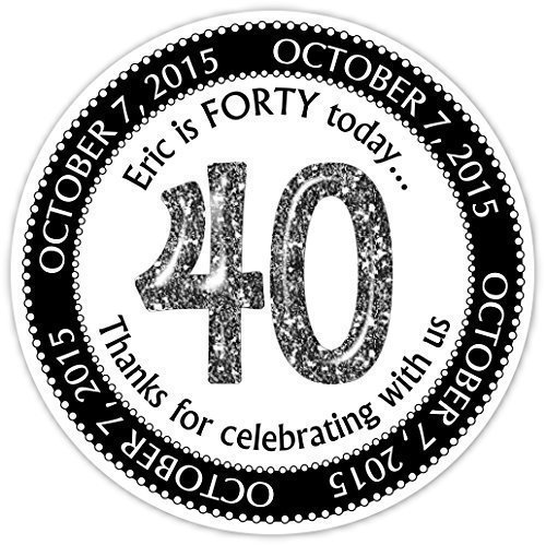 36 Birthday Stickers, 40th Birthday Personalized Stickers, Custom 40 Birthday Labels by Delight Design