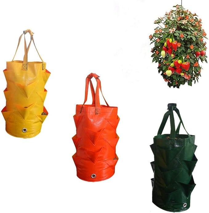 MZY1188 1pc Bolsas de Cultivo de Plantas, Maceta Transpirable ecológica con manijas, Bolsa de Cultivo de siembra de Fresa y Vegetales de Papa Bolsas de contenedores de múltiples Bocas Bolsa de Maceta: