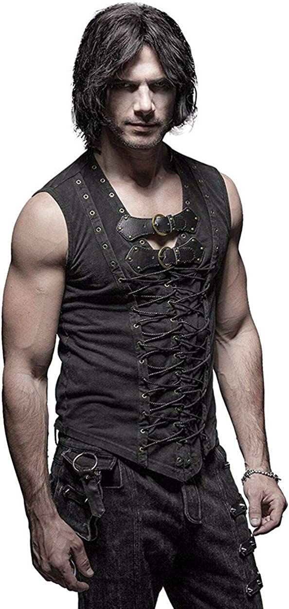 Punk Rave Man Cotton Leather Belt Sleeveless T-Shirt Front Strap Vest Bandage Casual Tank Tops Steampunk Vest