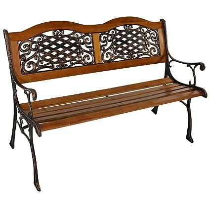 Amazon Com Sunnydaze 2 Person Outdoor Garden Bench Cast Iron And