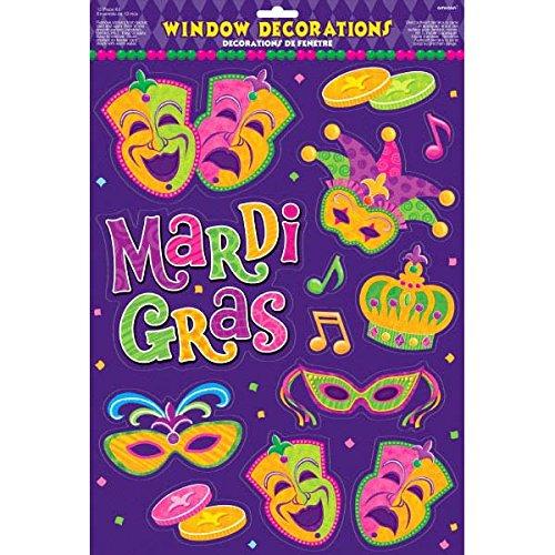 """Mardi Gras Party Window Decoration, 18"""" x 12"""""""