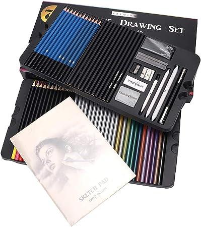 Nitrip 75pcs dibujo de dibujo profesional conjunto de pintura de arte de lápiz de color con caja de transporte: Amazon.es: Hogar