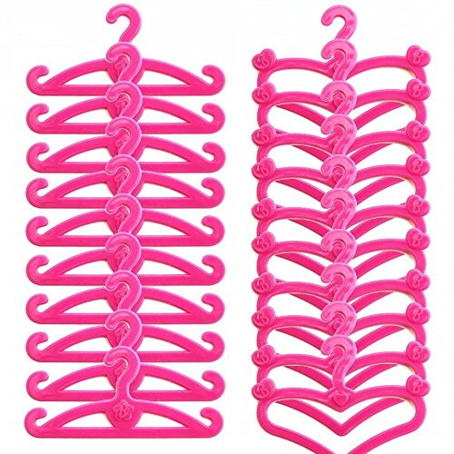 lastic Little Hangers for Barbie Doll Dress Clothes Gown Doll Clothes Accessories ()