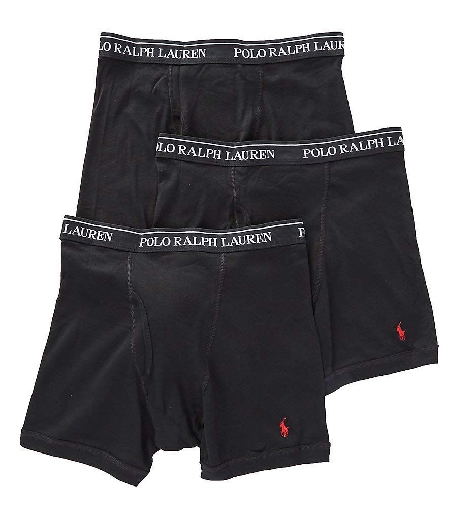 Polo Ralph Lauren Classic Fit Boxer Briefs with Moisture Wicking, 100% Cotton - 3 Pack (L, 3Black)