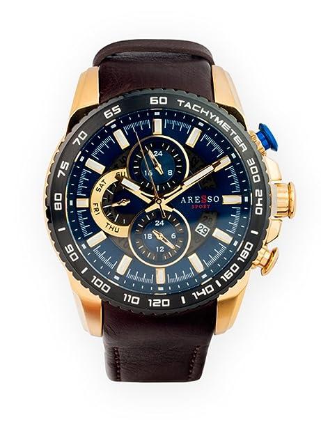 Reloj Aresso Sport Lujo Azul y Marrón en Acero Dorado: Amazon.es: Relojes
