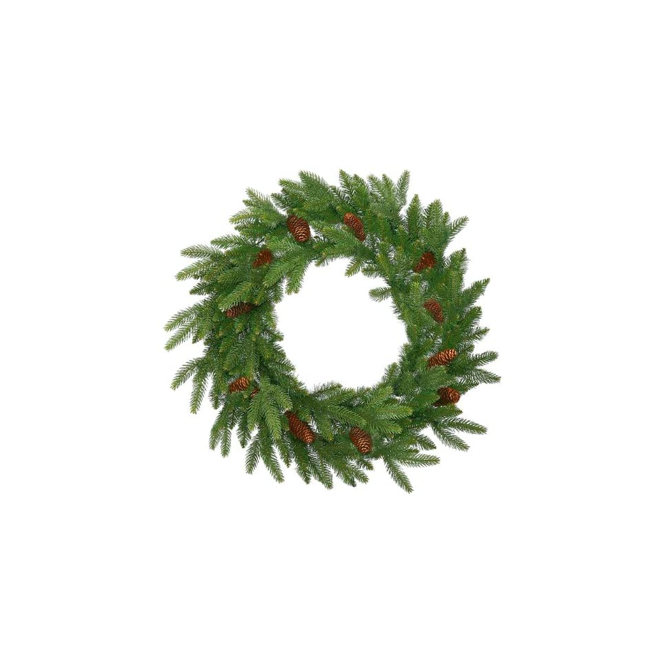 48 Sitka Spruce With Cones Artificial Christmas Wreath   Unlit