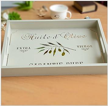 French Country Vintage bandeja de madera en color blanco calado hojas bandeja de alfabeto francés vino