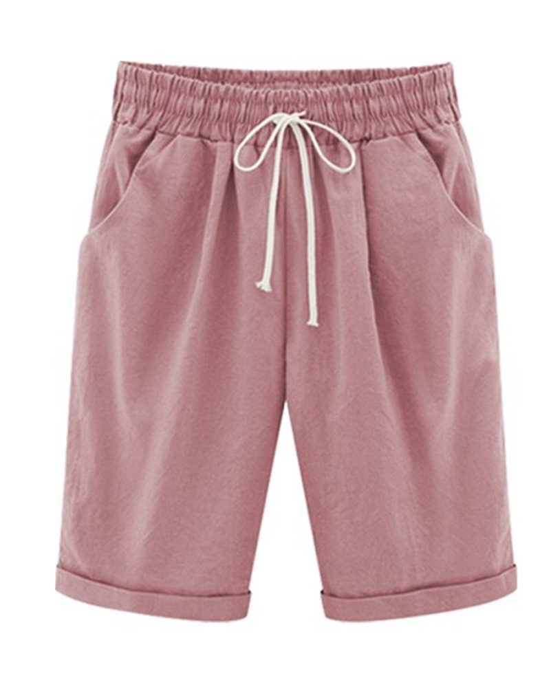 Yknktstc Womens Casual Elastic Waist Knee Length Curling Bermuda Shorts with Drawstring with Drawstring US 14 B-Pink