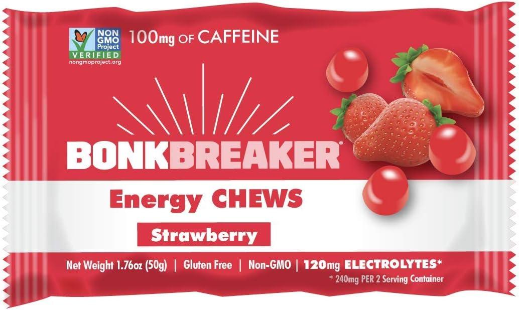 Strawberry Energy Chews by Bonk Breaker - 1.76 Oz each - 10 Count - Gluten Free & Dairy Free