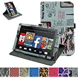 """Mama Mouth 360 Degree Rotary Stand With Cute Lovely Pattern Cover For 7"""" Amazon Fire 7 Android Tablet 5th Generation 2015 release"""