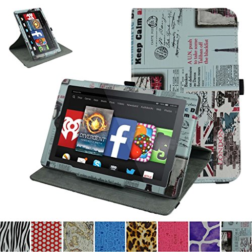 "Photo - Fire 7 5th Generation Rotating Case,Mama Mouth 360 Degree Rotary Stand With Cute Lovely Pattern Cover For 7"" Amazon Fire 7 Android Tablet 5th Generation 2015 release,Newspaper"