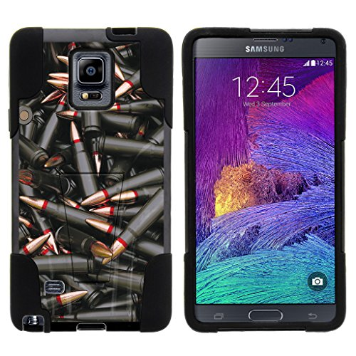 TurtleArmor | Samsung Galaxy Note 4 Case | N910 [Gel Max] Impact Proof Cover Hard Kickstand Hybrid Fitted Shock Silicone Shell Military War Army Camo Design - Black Bullets