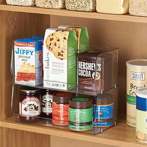 mDesign Stacking Organizer Bins for Kitchen, Pantry, Office, Bathroom - Pack of 2, Wide Medium, Clear