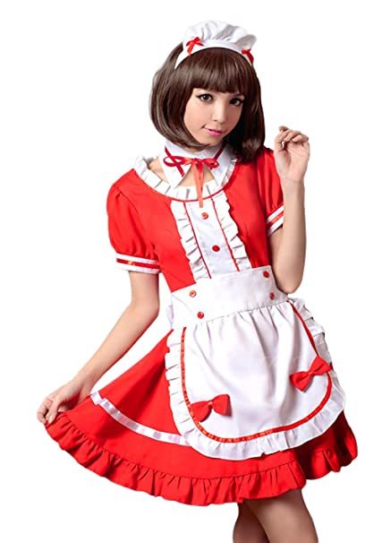 Amazon Com Z678 Red Maid Cosplay Maid Cosplay Costume Cosplay Anime