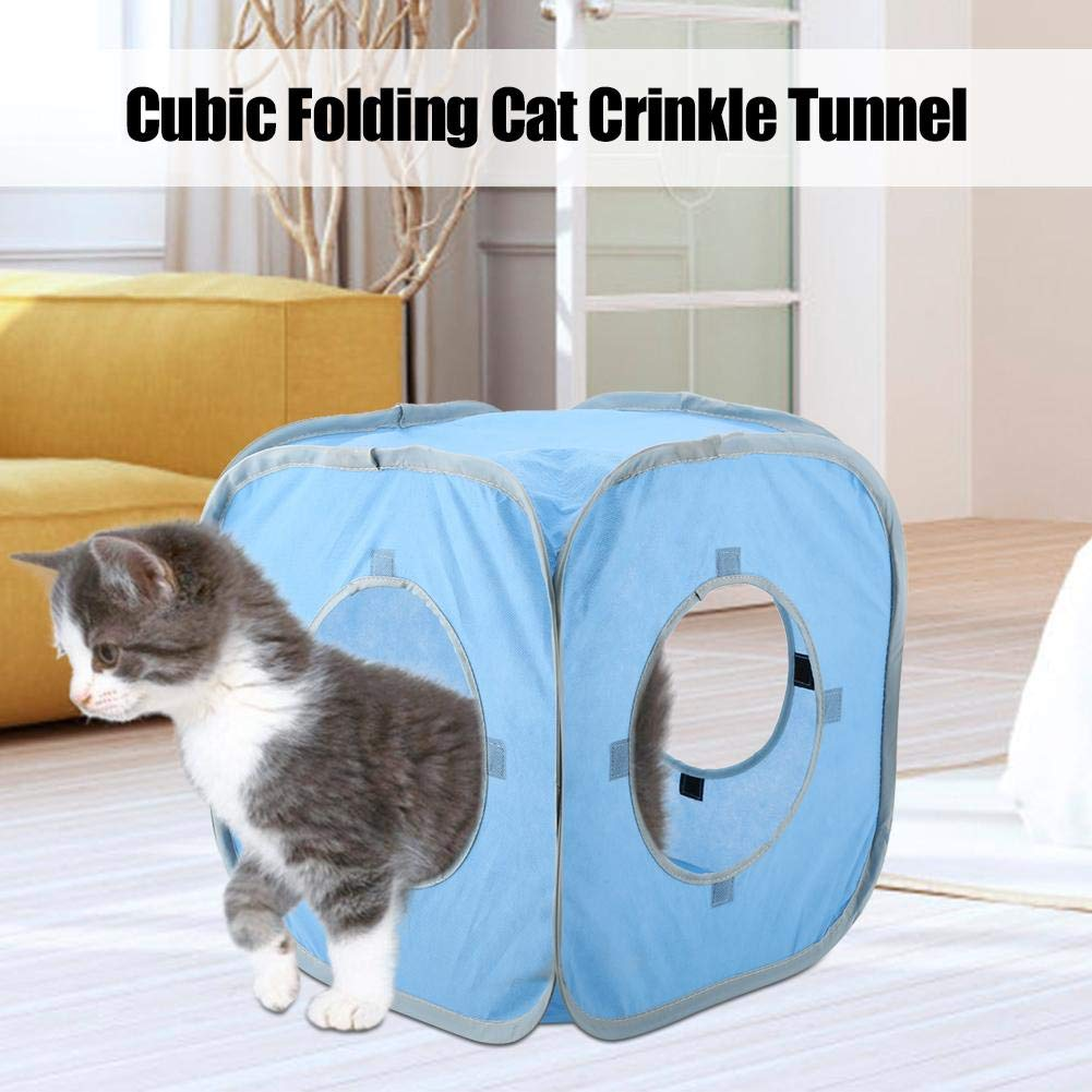 Folding Cubic Cat Crinkle Tunnel Pop-Up Cat Play Cubes Kitty Play and Sleep Tent Interactive Toy for Cats Blue Kittens Smandy Cat Tunnel and other Small Animals