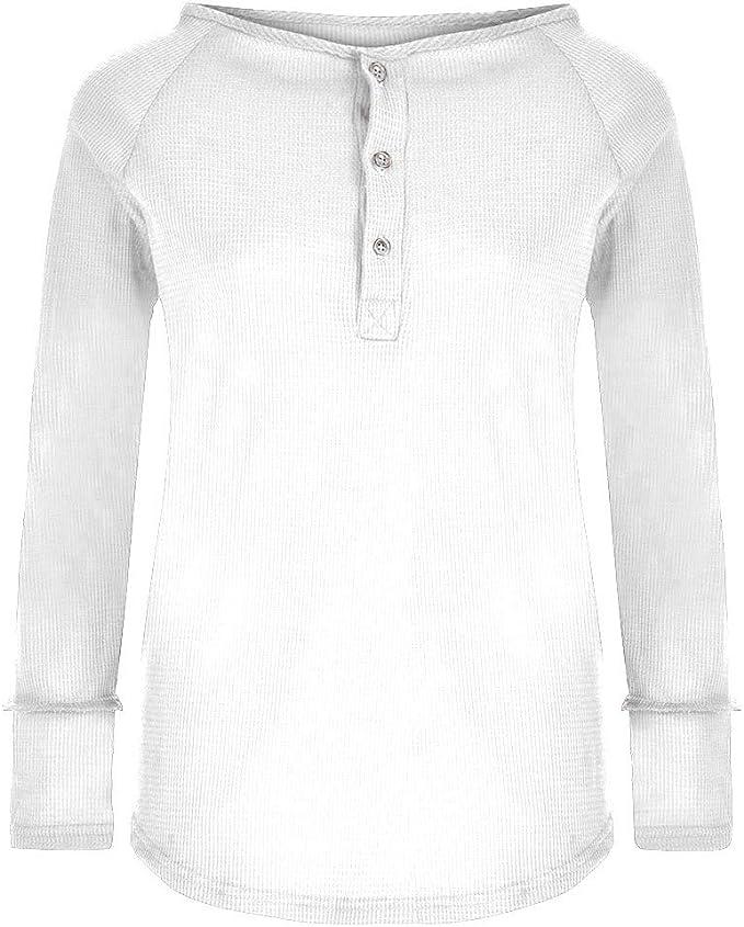 Camisas de Mujeres Blusas Suelto Verano Blusa Suelta de Manga Larga con Cuello en V y Blusa con Botones Camiseta Tops Camisa de Mujer Color Liso Camisa de poliéster Casual Elegante LiNaoNa: