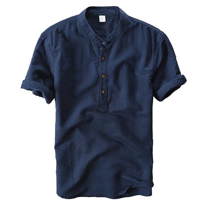 buy popular 8dfd0 cf4af crazyplayer Herren Leinenhemd leinen Shirt Langärmelig Hemden mit  Stehkragen Kurze Knopfleiste in weiß schwarz Navy blau Slim fit für Herren