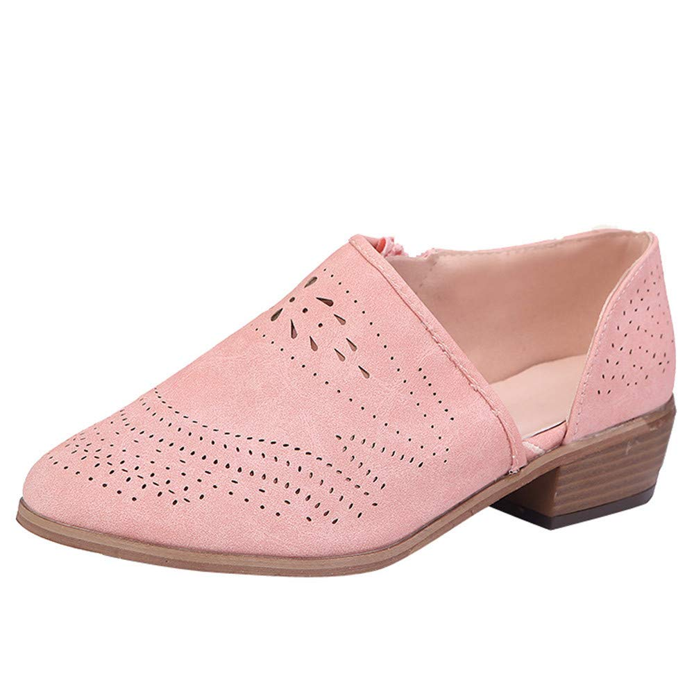 Kauneus Womens Casual Loafers Slip on Ankle Leather Boots Cut Out Office Flat Shoes Pink by Kauneus Fashion Shoes