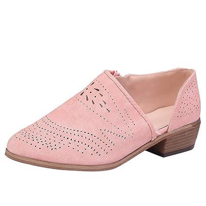 Rosa, Marrón, Verde, 35-43 LILICAT❋ Mujeres Tacones Bajos Gruesos de la Vendimia Tacón Grueso Botines Botines Huecos Zapatos de Ante Redondo Cabeza Redonda ...