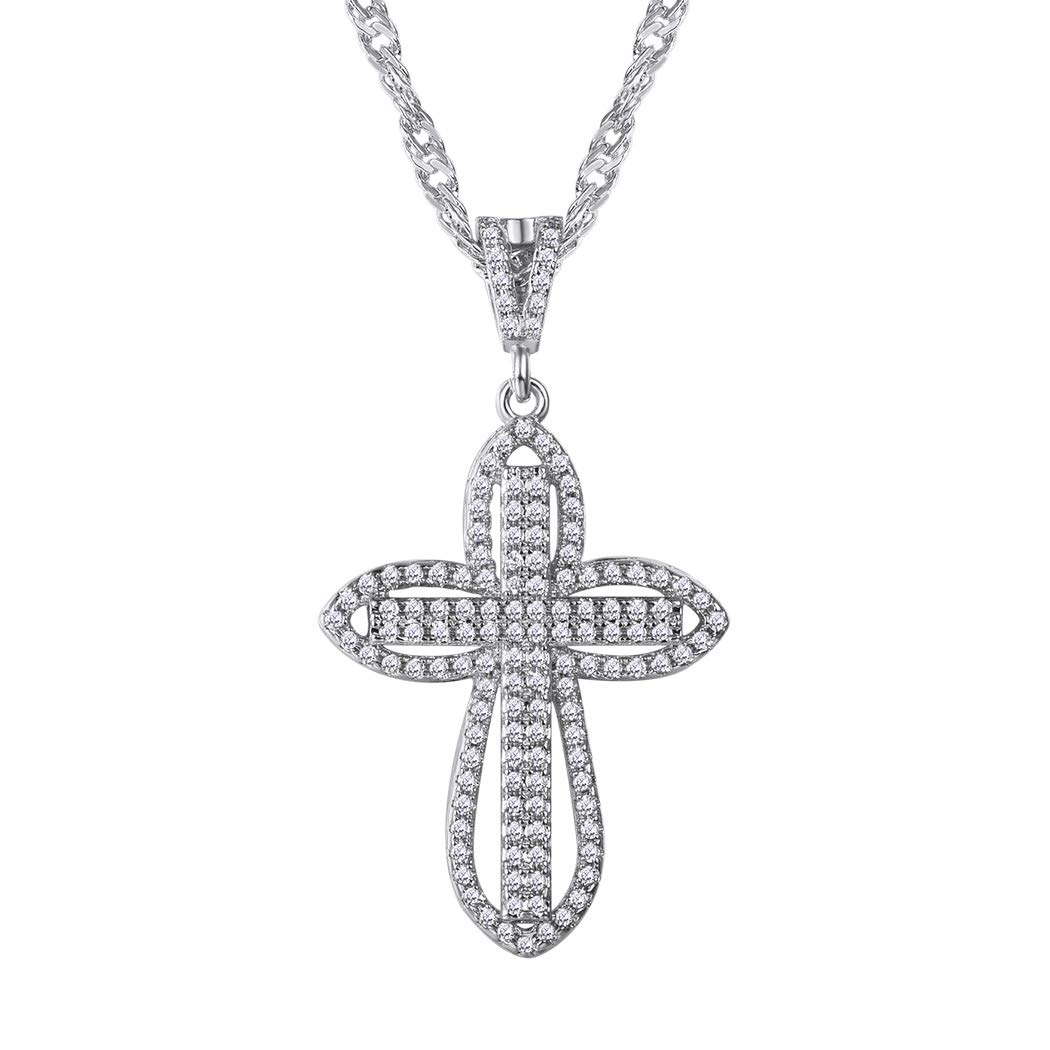 Suplight Chain and Pendant Cross Christian White Stone Cubic Zirconia Religious Necklace Yellow Gold Plated/White Gold Fashion Jewelry Wedding Engagement Gifts for Woman Girl LP8045K