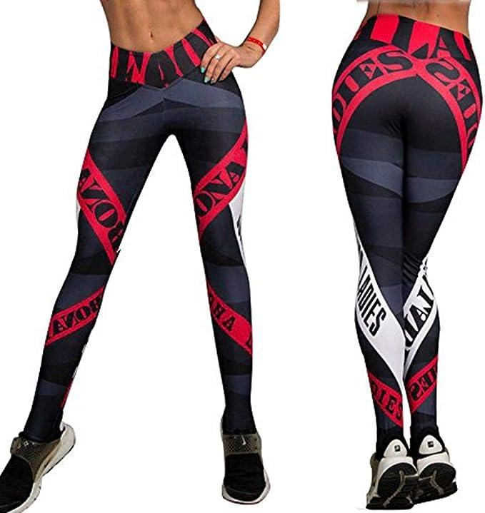 ROSUN Womens Letter Print Yoga Pants Red Striped Gym Sport Leggings Tight