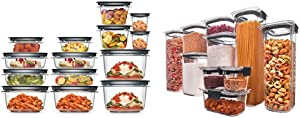 Rubbermaid Meal Prep Premier Food Storage Container, 28 Piece Set, Grey & Brilliance Pantry Organization & Food Storage Containers with Airtight Lids, Set of 10 (20 Pieces Total)