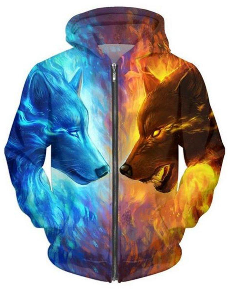 Wolf printed Zipper Hooded Sweatshirts Men Women Plus size Hoodies
