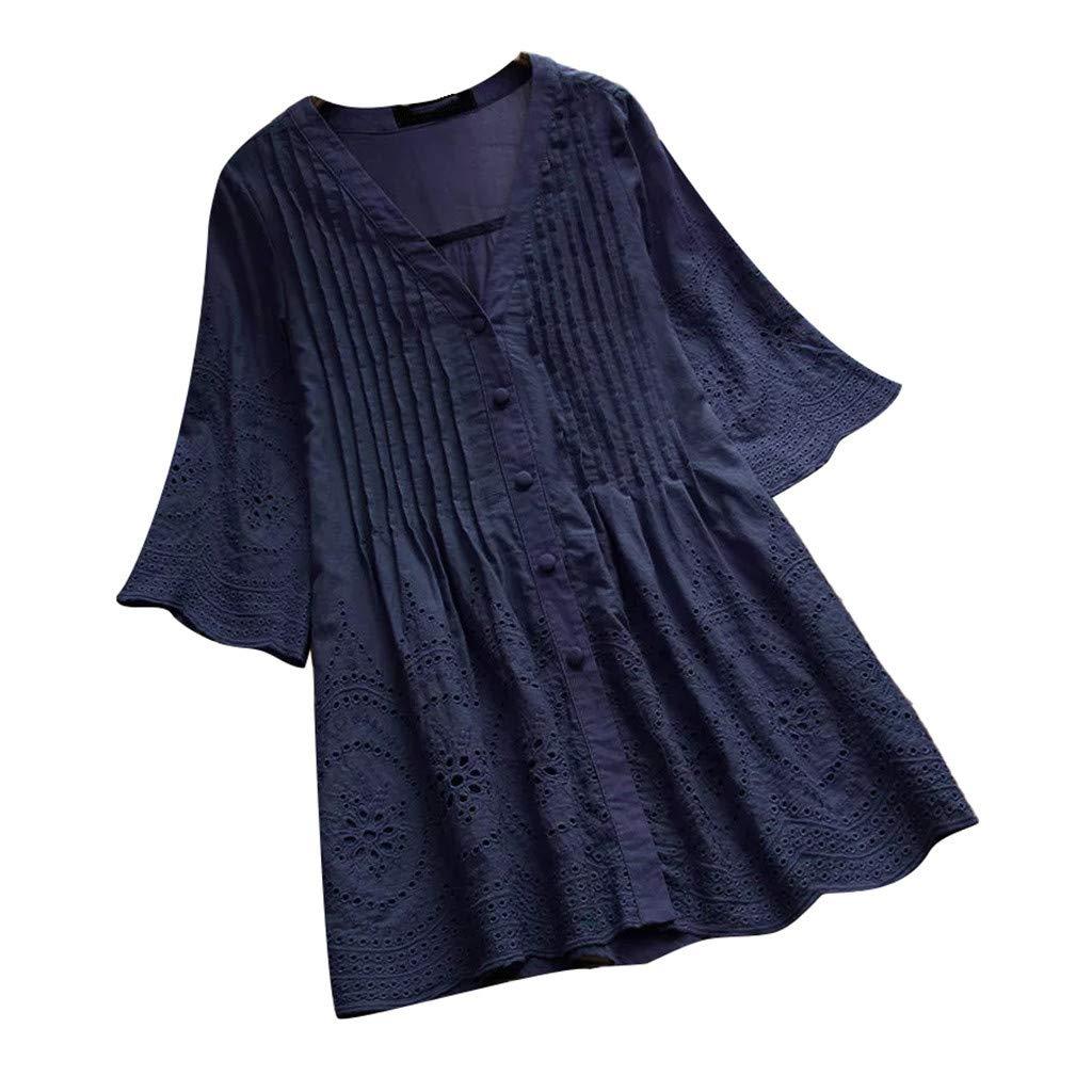 AIFGR Tops para Mujer Damas Camisa con Cuello en V de botón Puro ...